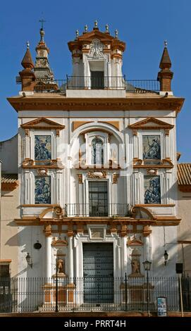 Hospital de la Santa Caridad, Façade of the church, Seville, Region of Andalusia, Spain, Europe. - Stock Photo