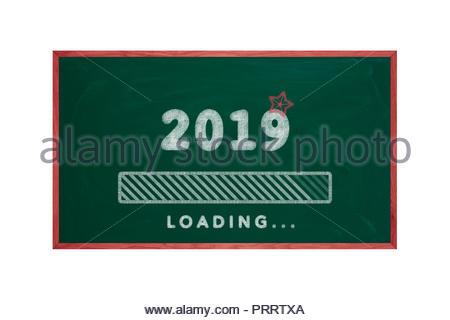 Loading bar of 2019 on green chalkboard, happy new year, christmas - Stock Photo