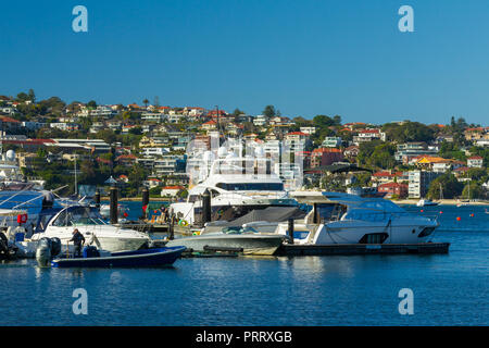 Rose Bay in Sydney's Eastern Suburbs in New South Wales, Australia, with Vaucluse seen in the background. - Stock Photo