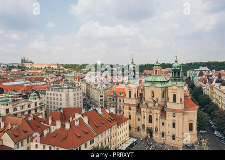 PRAGUE, CZECH REPUBLIC - JULY 23, 2018: aerial view of beautiful old town and prague cityscape Stock Photo
