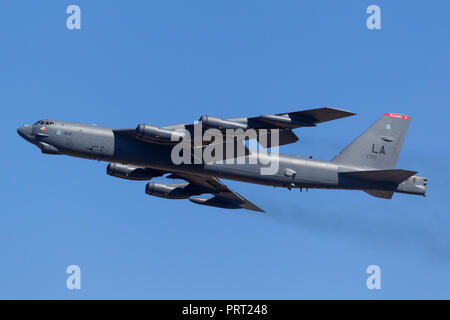 United States Air Force (USAF) Boeing B-52H Stratofortress strategic bomber aircraft (61-0012) from Barksdale Air Force Base. - Stock Photo