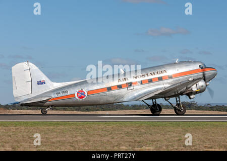 Vintage Douglas DC-3 airliner VH-TMQ operated by Air Nostalgia (Shortstop jet Charters). - Stock Photo