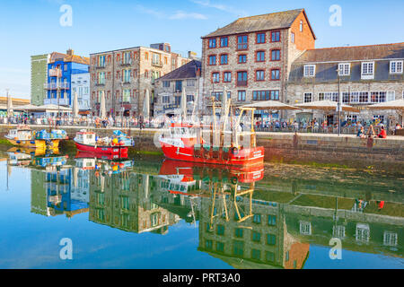 9 June 2018: Plymouth, Devon, UK - Plymouth Barbican and Sutton Pool. - Stock Photo