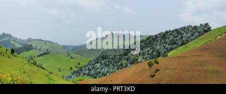 Rural landscapes in western Rwanda. - Stock Photo