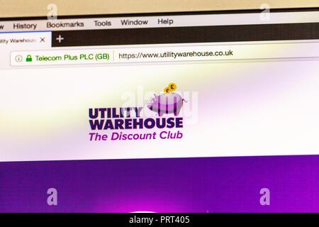Utility Warehouse utility provider website, Utility Warehouse homepage, Utility Warehouse logo, Utility Warehouse online, logo, website, utilities - Stock Photo