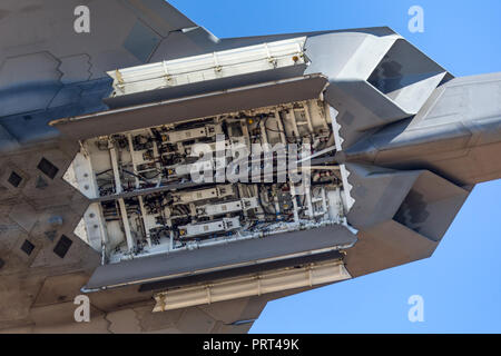 Weapons bay of United States Air Force (USAF) Lockheed Martin F-22A Raptor fifth-generation stealth tactical fighter aircraft. - Stock Photo