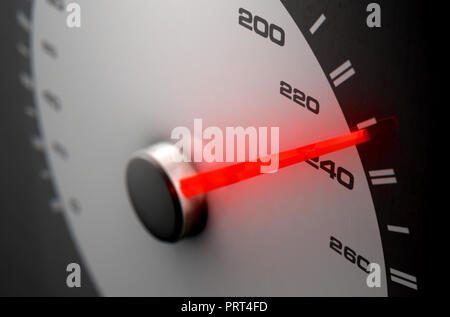 A sporty speedometer with a glowing orange needle pointing towards a high speed on an isolated black background - 3D render