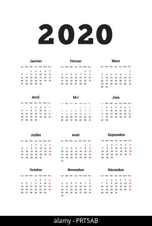 2020 year simple calendar on french language, A4 size vertical sheet isolated on white - Stock Photo
