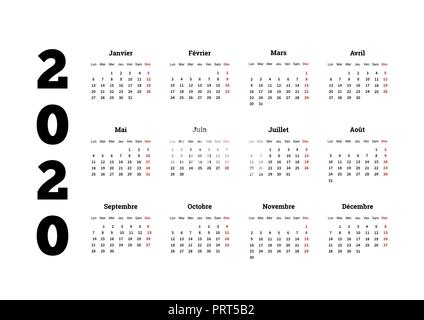 2020 year simple calendar on french language, isolated on white - Stock Photo
