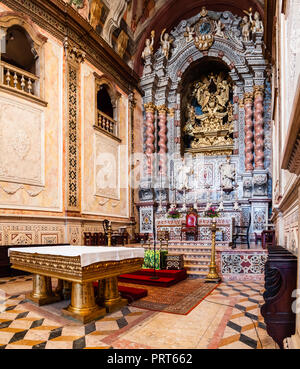 Santarem, Portugal - September 09, 2017: Baroque high altar of Santarem See Cathedral or Se Catedral de Santarem aka Nossa Senhora da Conceicao Church - Stock Photo