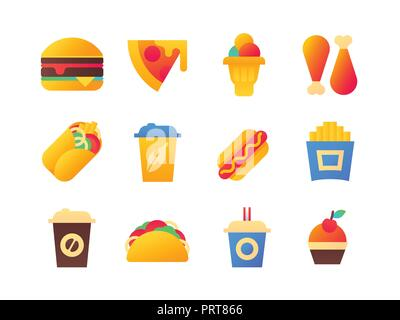 Fast food - set of flat design style icons - Stock Photo