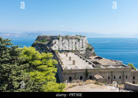 View from the Old Venetian Fort in Corfu Town, Corfu, Greece - Stock Photo