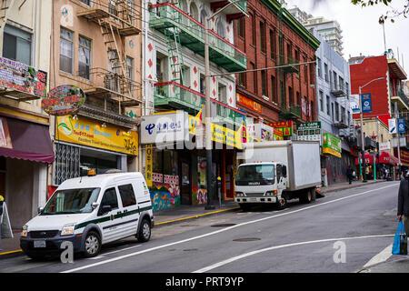 SAN FRANCISCO, CALIFORNIA, USA - MAY 14, 2018: Walking around China Town, shops, offices, city buildings - Stock Photo
