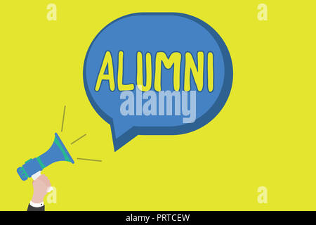 Conceptual hand writing showing Alumni. Business photo showcasing former pupil or student especially male one of particular school. - Stock Photo