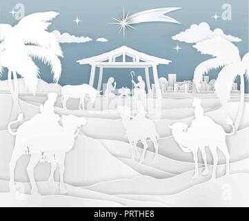 Nativity Christmas Scene Paper Style  - Stock Photo