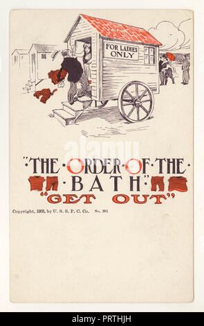 Illustrated Edwardian bathing hut postcard - The Order of the Bath, copyright dated 1905 on front, U.S.A. - Stock Photo