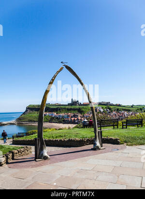 A view of the abbey through the whale bone arch at Whitby,North Yorkshire,England,UK - Stock Photo
