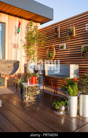 Balcony garden, decking, repurposed recycled furniture and containers filled with succulents and herbs. insect hotel coffee table, Sempervivum plants  - Stock Photo