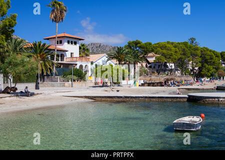 Beautiful beach in Port de Pollensa in Majorca, Spain - Stock Photo