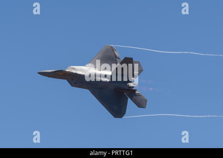 United States Air Force (USAF) Lockheed Martin F-22A Raptor fifth-generation, single-seat, twin-engine, stealth tactical fighter aircraft. - Stock Photo