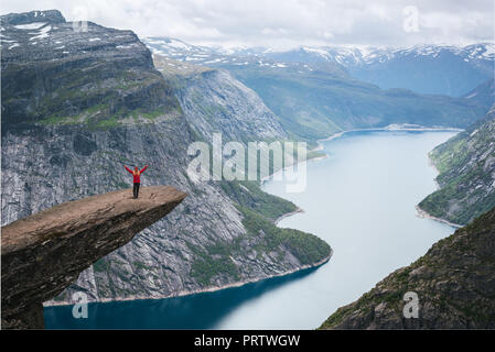 Perfect track adventure to Trolltunga. Ringedalsvatnet Lake. View from cliff - Stock Photo