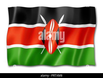 Kenya flag, three dimensional render, isolated on white - Stock Photo