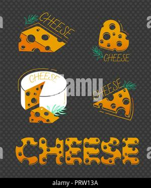 Slices of cheese and the inscription of cheese in a flat style on black background.  Set of cheese icons - Stock Photo