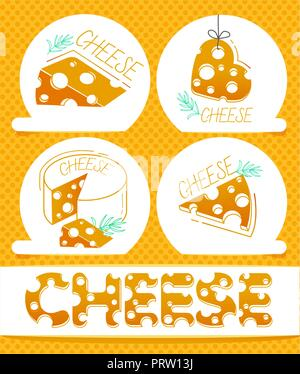 Slices of cheese and the inscription of cheese in a flat style .  Set labels of cheese icons - Stock Photo