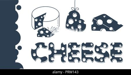 Slices of cheese and the inscription of cheese in a flat style .  Set  of cheese icons, banner. black and white illustration - Stock Photo