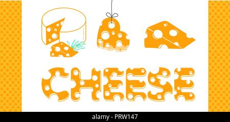 Slices of cheese and the inscription of cheese in a flat style.  Set of cheese icons - Stock Photo