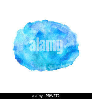 Watercolor hand painted background. Spot isolated on white paper. Abstract template design. - Stock Photo