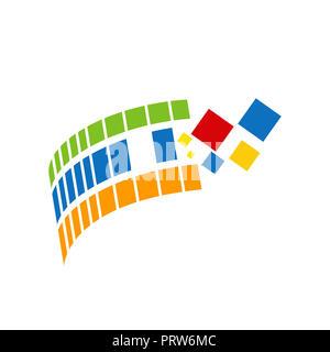 Modern abstract wave logo design, business icon. Geometric emblem - Stock Photo