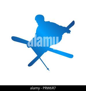 silhouette blue skiing people logo design vector illustration - Stock Photo