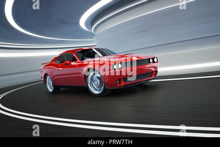 Front angle view of a generic red brandless American muscle car in a tunnel with motion blur . Transportation concept . 3D Rendering . - Stock Photo