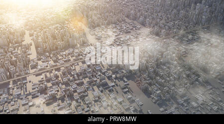 Aerial view of futuristic sci-fi city and commercial office building . 3d illustration rendering . - Stock Photo