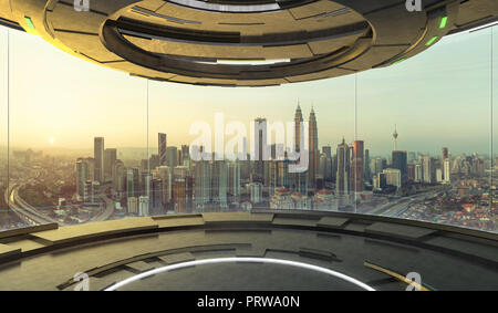 Futuristic interior design empty space room with large windows and city urban landscape . 3d illustration rendering . Mixed media . - Stock Photo