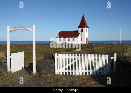Old small wooden church in Hellnar, Snaefellsnes peninsula, Iceland. Beautiful landmark. - Stock Photo