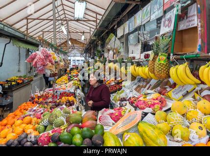 Fruit stall in Bolhao Market ( Mercado do Bolhao ), Porto, Portugal - Stock Photo