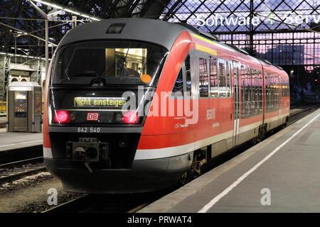 DRESDEN, GERMANY - JULY 24: Deutsche Bahn Regio train Siemens Desiro on July 24, 2010 in Dresden, Germany. Deutsche Bahn is currently largest railway  - Stock Photo