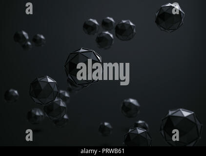 3d rendering of Icosahedron geometric shapes , abstract low key and selected focus background . - Stock Photo