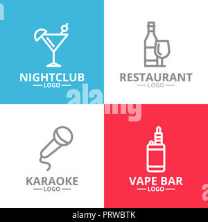 Set of night club, karaoke, disco, cocktail logo or insignia, emblems, labels and badge. line style - Stock Photo