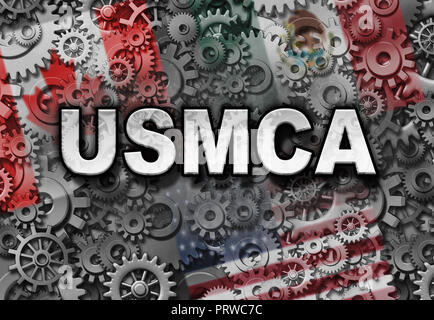 USMCA business or the new NAFTA deal as the United States Mexico Canada agreement symbol with north america flags as a trade negotiation and economic  - Stock Photo