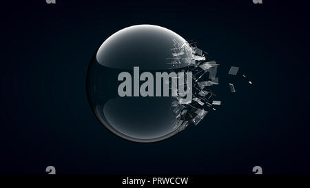 3D rendering broken glass sphere on dark background . - Stock Photo