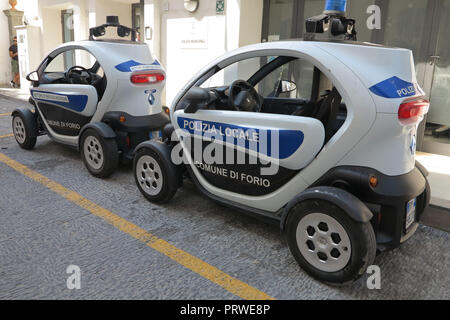 Electric police cars in Ischia, Italy - Stock Photo