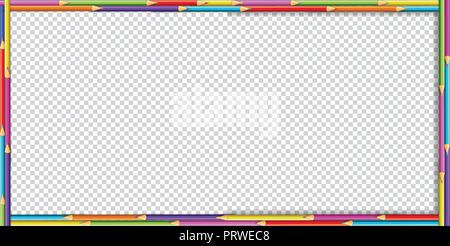 Vector creative rectangle border frame made of colored wooden pencils on transparent background. Back to school framework bordering template concept,  - Stock Photo