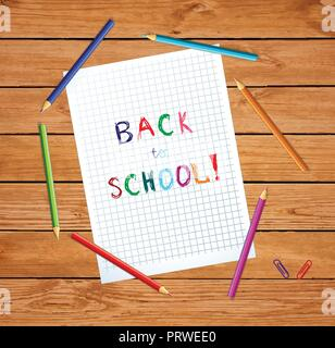 Vector illustration of notebook sheet with back to school hand written inscription surrounded with colored pencils on wooden desk table background. Gr - Stock Photo