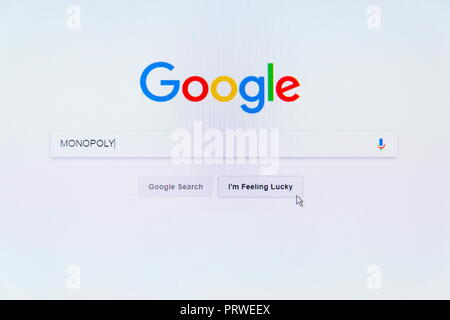 PRAGUE, CZECH REPUBLIC - OCTOBER 4 2018: Google American technology company logo on search engine homepage with word Monopoly in search bar on October - Stock Photo
