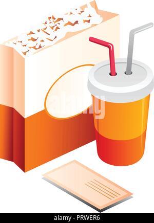 popcorn Vector Illustration Isolated on White Background - Stock Photo