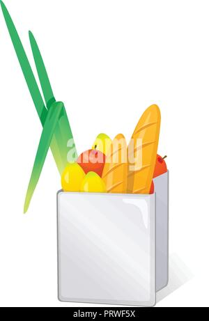 bags and food. Vector Illustration Isolated on White Background - Stock Photo