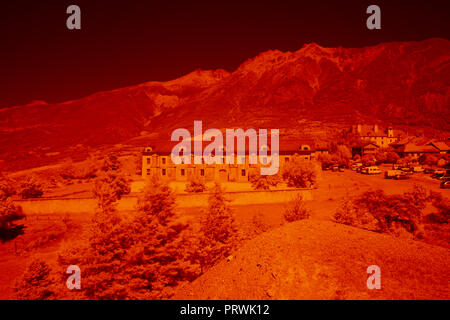 Infrared Image, France, High Alps, Example of Digital IR image, before processing. IR FILTER NIKON 850 - Stock Photo